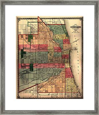 Antique Map Of Chicago 1875 Framed Print by Mountain Dreams