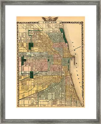 Antique Map Of Chicago 1876 Framed Print by Mountain Dreams