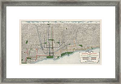 Antique Map Of Chicago By Willis J. Champion - 1908 Framed Print by Blue Monocle