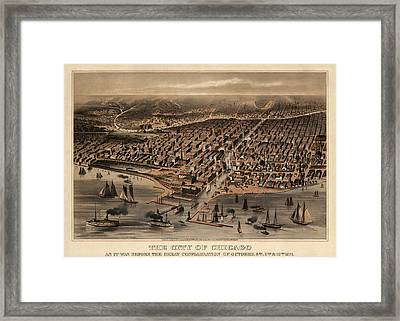 Antique Map Of Chicago Illinois As It Appeared In 1871 Before The Fire Framed Print by Blue Monocle