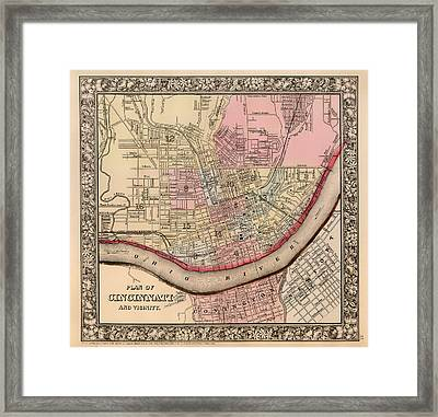 Antique Map Of Cincinnati 1860 Framed Print by Mountain Dreams