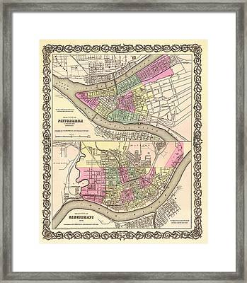 Antique Map Of Cincinnati And Pittsburgh 1855 Framed Print by Mountain Dreams