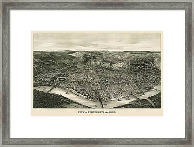 Antique Map Of Cincinnati Ohio By John L. Trout - 1900 Framed Print