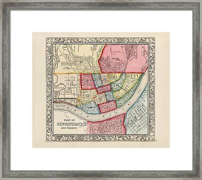 Antique Map Of Cincinnati Ohio By Samuel Augustus Mitchell - 1863 Framed Print by Blue Monocle