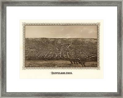 Antique Map Of Cleveland Ohio 1887 Framed Print by Mountain Dreams