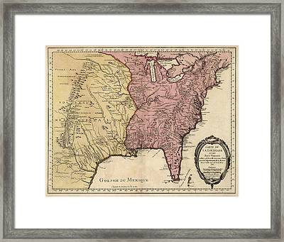 Antique Map Of Colonial America By Jacques Nicolas Bellin - 1750 Framed Print