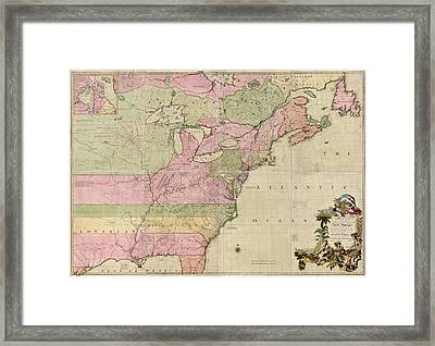 Antique Map Of Colonial America By John Mitchell - 1755 Framed Print by Blue Monocle