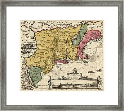 Antique Map Of Colonial America By Nicolaes Visscher - 1685 Framed Print by Blue Monocle