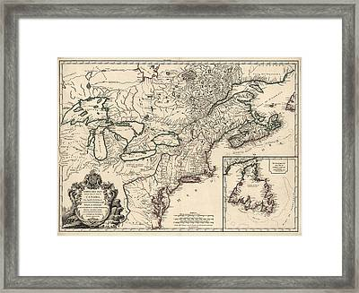 Antique Map Of Colonial Canada And America By Didier Robert De Vaugondy - 1753 Framed Print