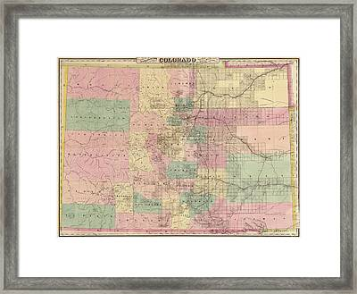 Antique Map Of Colorado By G.w. And C.b. Colton And Co. - 1878 Framed Print