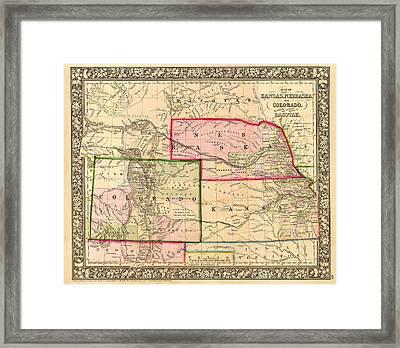 Antique Map Of Colorado Nebraska And Kansas 1860 Framed Print