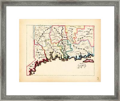 Antique Map Of Connecticut  Framed Print
