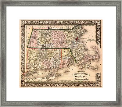 Antique Map Of Connecticut Massachusetts And Rhode Island 1864 Framed Print