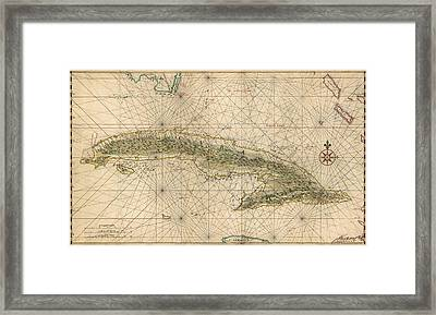 Antique Map Of Cuba By Joan Vinckeboons - Circa 1639 Framed Print