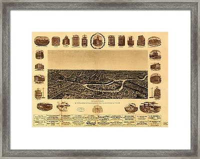 Antique Map Of Dallas 1892 Framed Print