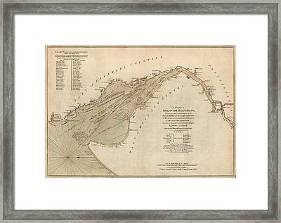 Antique Map Of Delaware Bay By William Faden - 1776 Framed Print by Blue Monocle