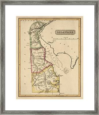 Antique Map Of Delaware By Fielding Lucas - Circa 1817 Framed Print