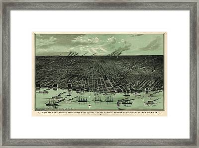 Antique Map Of Detroit Michigan - Circa 1889 Framed Print
