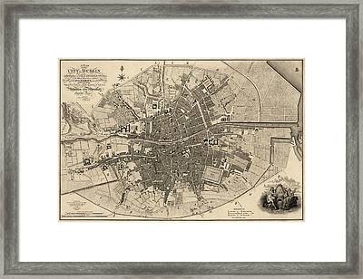 Antique Map Of Dublin Ireland By William Faden - 1797 Framed Print by Blue Monocle