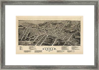 Antique Map Of Durham North Carolina By A. Ruger - 1891 Framed Print by Blue Monocle
