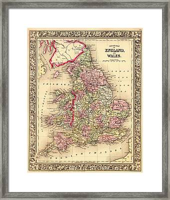 Antique Map Of England And Wales 1864 Framed Print by Mountain Dreams