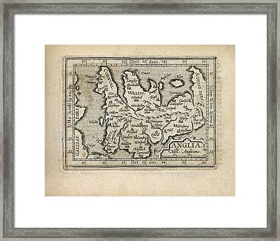 Antique Map Of England And Wales By Abraham Ortelius - 1603 Framed Print