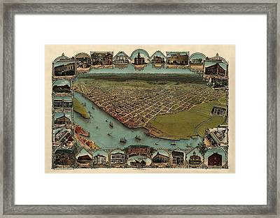 Antique Map Of Eureka California By Noe And Georgeson - 1902 Framed Print by Blue Monocle