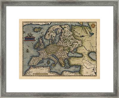 Antique Map Of Europe By Abraham Ortelius - 1570 Framed Print by Blue Monocle