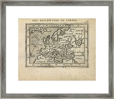 Antique Map Of Europe By Abraham Ortelius - 1603 Framed Print
