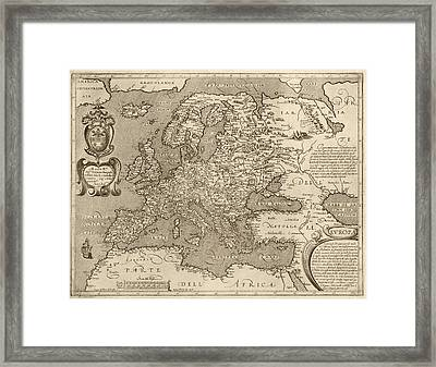 Antique Map Of Europe By Arnoldo Di Arnoldi - Circa 1600 Framed Print by Blue Monocle