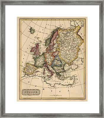 Antique Map Of Europe By Fielding Lucas - Circa 1817 Framed Print by Blue Monocle