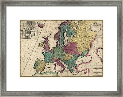 Antique Map Of Europe By John Senex - Circa 1719 Framed Print by Blue Monocle