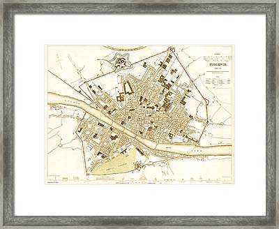 Antique Map Of Florence Italy 1835 Framed Print by Mountain Dreams