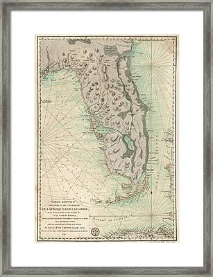 Framed Print featuring the drawing Antique Map Of Florida - 1780 by Blue Monocle