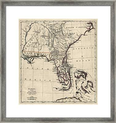 Antique Map Of Florida And The Southeast By Thomas Jefferys - 1768 Framed Print by Blue Monocle