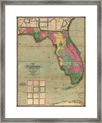 Antique Map Of Florida By I. G. Searcy - 1829 Framed Print by Blue Monocle