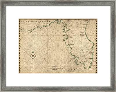 Antique Map Of Florida By Joan Vinckeboons - Circa 1639 Framed Print by Blue Monocle