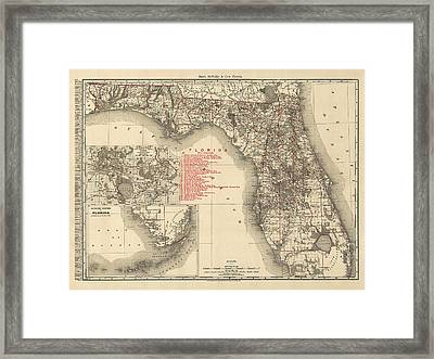 Antique Map Of Florida By Rand Mcnally And Company - 1900 Framed Print by Blue Monocle
