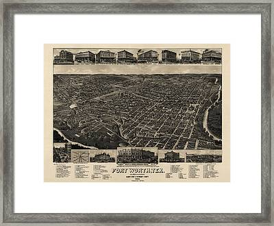 Antique Map Of Fort Worth Texas By H. Wellge - 1886 Framed Print