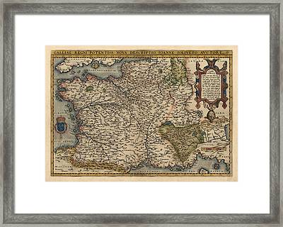 Antique Map Of France By Abraham Ortelius - 1570 Framed Print by Blue Monocle