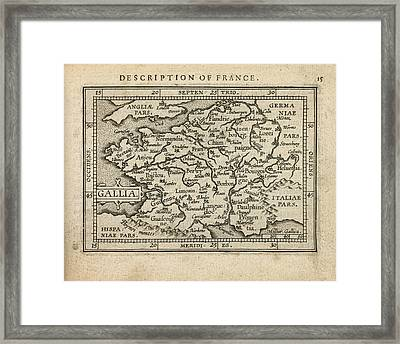 Antique Map Of France By Abraham Ortelius - 1603 Framed Print by Blue Monocle
