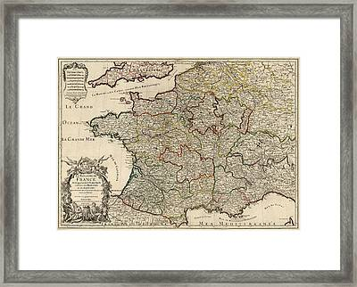 Antique Map Of France By Alexis Hubert Jaillot - 1724 Framed Print