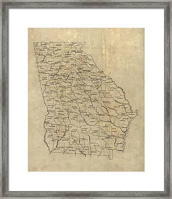 Antique Map Of Georgia - 1893 Framed Print