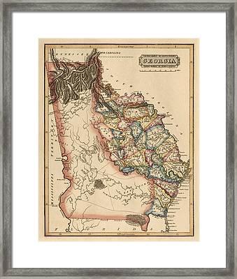 Antique Map Of Georgia By Fielding Lucas - Circa 1817 Framed Print