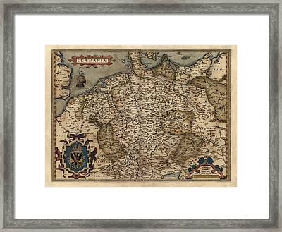 Antique Map Of Germany By Abraham Ortelius - 1570 Framed Print by Blue Monocle