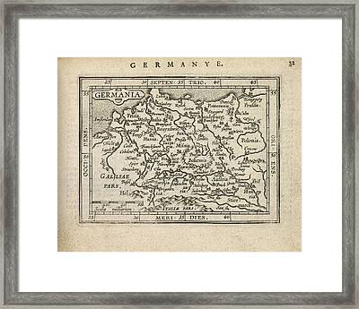 Antique Map Of Germany By Abraham Ortelius - 1603 Framed Print by Blue Monocle