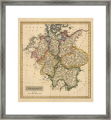 Antique Map Of Germany By Fielding Lucas - Circa 1817 Framed Print by Blue Monocle