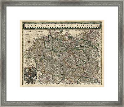 Antique Map Of Germany By Willem Janszoon Blaeu - 1647 Framed Print by Blue Monocle