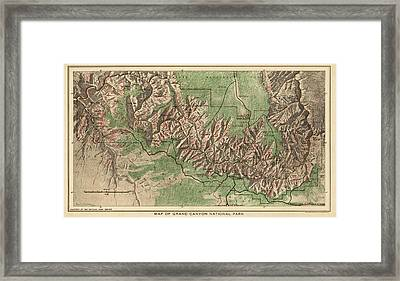 Antique Map Of Grand Canyon National Park By The National Park Service - 1926 Framed Print by Blue Monocle