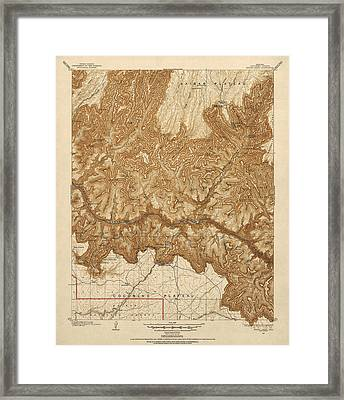 Antique Map Of Grand Canyon National Park - Usgs Topographic Map - 1903 Framed Print by Blue Monocle